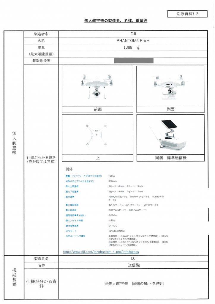 別添資料_無人航空機の製造者、名称、重量等